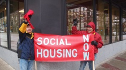 Photo of a STAND for Social Housing at the Woodward's Building